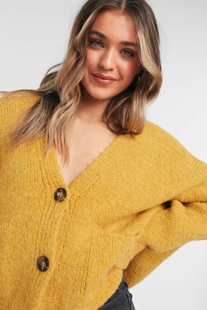 Topshop oversized button cardigan in mustard