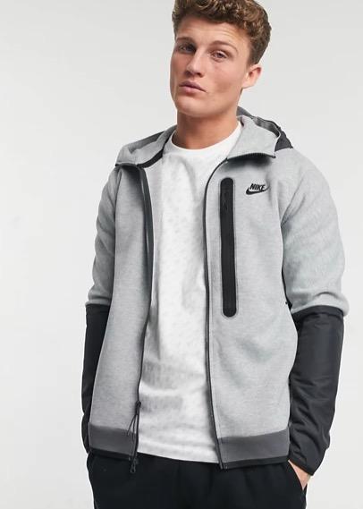 Nike Tech Fleece full-zip colourblock hoodie in grey