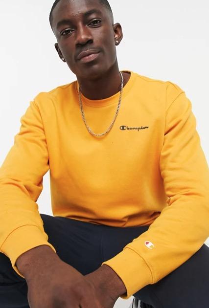 Champion small script chest logo sweatshirts in orange